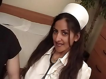 Horny patient banging sexy nurse hard after getting a BJ